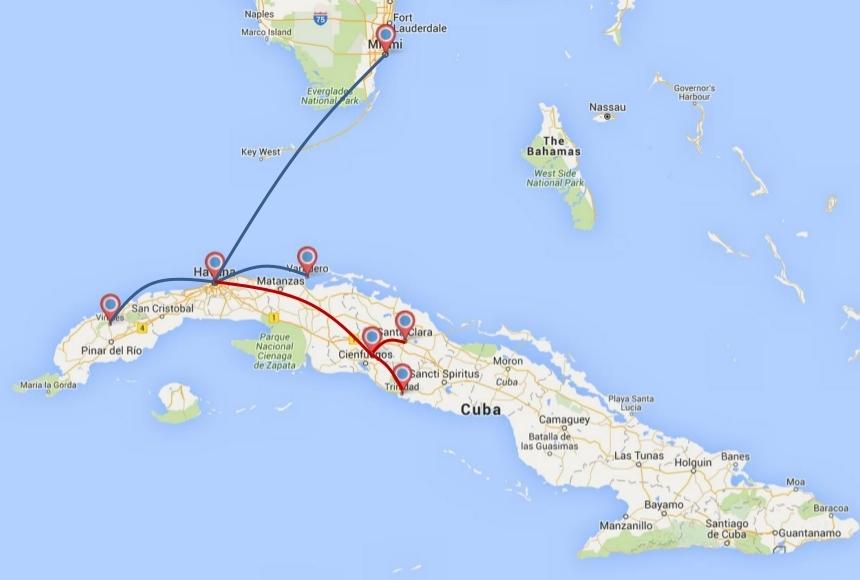 Cuba Itinerary Map